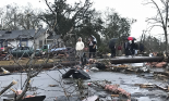Trees and debris cover the ground after the tornado hit Hattiesburg, Mississippi, on 21 January. Photograph: Ryan Moore/AP