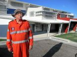 Yeppoon SES volunteer Dean Gibson at the cyclone shelter at Yeppoon State High School.  Christine McKee