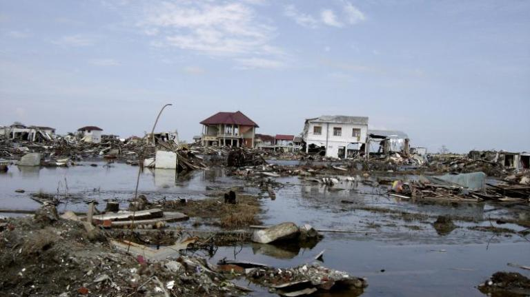 Flooding from the dec 2004 tsunami left aceh destroyed with rubb